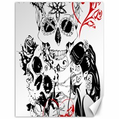 Skull Love Affair Canvas 12  X 16  (unframed) by vividaudacity