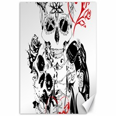 Skull Love Affair Canvas 12  X 18  (unframed) by vividaudacity
