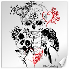 Skull Love Affair Canvas 20  X 20  (unframed) by vividaudacity