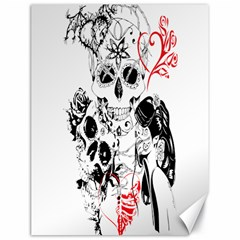 Skull Love Affair Canvas 18  X 24  (unframed) by vividaudacity