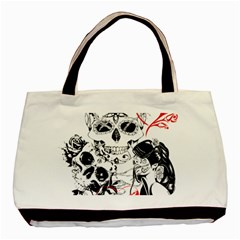 Skull Love Affair Twin Sided Black Tote Bag by vividaudacity