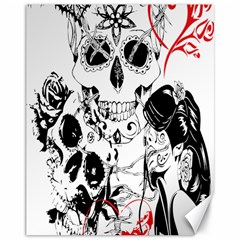 Skull Love Affair Canvas 11  X 14  (unframed) by vividaudacity