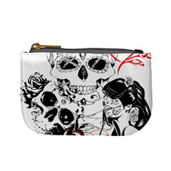 Skull Love Affair Coin Change Purse by vividaudacity