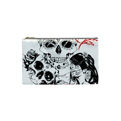 Skull Love Affair Cosmetic Bag (small) by vividaudacity