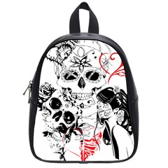 Skull Love Affair School Bag (small) by vividaudacity