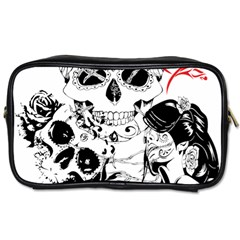 Skull Love Affair Travel Toiletry Bag (two Sides) by vividaudacity
