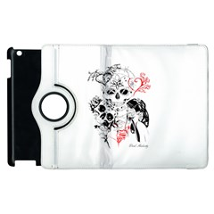 Skull Love Affair Apple Ipad 2 Flip 360 Case by vividaudacity