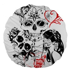 Skull Love Affair 18  Premium Round Cushion  by vividaudacity