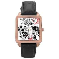 Skull Love Affair Rose Gold Leather Watch  by vividaudacity