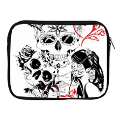 Skull Love Affair Apple Ipad Zippered Sleeve by vividaudacity