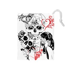 Skull Love Affair Drawstring Pouch (medium) by vividaudacity