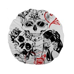 Skull Love Affair 15  Premium Flano Round Cushion  by vividaudacity