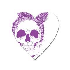 Purple Skull Bun Up Magnet (heart) by vividaudacity