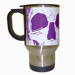 Purple Skull Bun Up Travel Mug (white) by vividaudacity