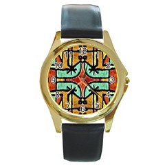 Lap Round Leather Watch (gold Rim)  by dflcprints