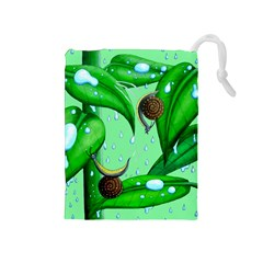 Playing In The Rain Drawstring Pouch (medium) by retz