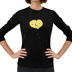 Happy Heart Flying Raster Illustration02 Women s Long Sleeve T-shirt (dark Colored) by dflcprints