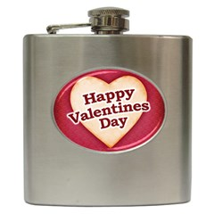 Heart Shaped Happy Valentine Day Text Design Hip Flask by dflcprints