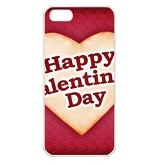 Heart Shaped Happy Valentine Day Text Design Apple Iphone 5 Seamless Case (white)