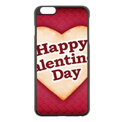 Heart Shaped Happy Valentine Day Text Design Apple Iphone 6 Plus Black Enamel Case by dflcprints
