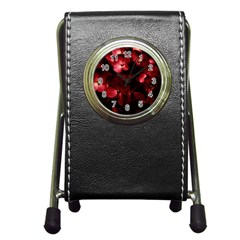 Red Flowers Bouquet In Black Background Photography Stationery Holder Clock by dflcprints