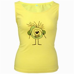 Cute Weird Caricature Illustration Women s Tank Top (yellow) by dflcprints