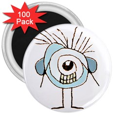 Cute Weird Caricature Illustration 3  Button Magnet (100 Pack) by dflcprints