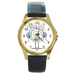 Cute Weird Caricature Illustration Round Leather Watch (gold Rim)  by dflcprints