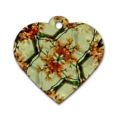 Floral Motif Print Pattern Collage Dog Tag Heart (two Sided)