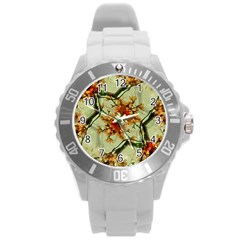 Floral Motif Print Pattern Collage Plastic Sport Watch (large) by dflcprints