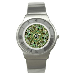 Luxury Abstract Golden Grunge Art Stainless Steel Watch (slim) by dflcprints