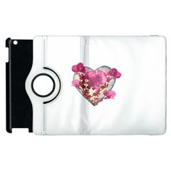 Heart Shaped With Flowers Digital Collage Apple Ipad 2 Flip 360 Case