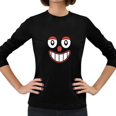 Happy Clown Cartoon Drawing Women s Long Sleeve T-shirt (dark Colored) by dflcprints