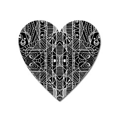 Black And White Tribal Geometric Pattern Print Magnet (heart) by dflcprints