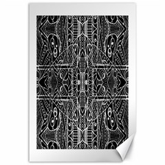 Black And White Tribal Geometric Pattern Print Canvas 24  X 36  (unframed) by dflcprints