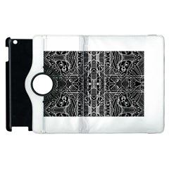 Black And White Tribal Geometric Pattern Print Apple Ipad 2 Flip 360 Case by dflcprints