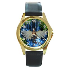 Magic Sword Round Leather Watch (gold Rim)  by icarusismartdesigns