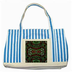Tribal Ornament Pattern In Red And Green Colors Blue Striped Tote Bag by dflcprints