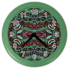 Tribal Ornament Pattern In Red And Green Colors Wall Clock (color) by dflcprints
