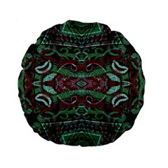 Tribal Ornament Pattern In Red And Green Colors 15  Premium Flano Round Cushion  by dflcprints