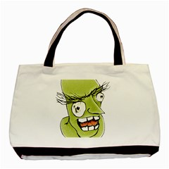 Mad Monster Man With Evil Expression Twin-sided Black Tote Bag by dflcprints