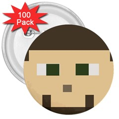 Custom Block Head 3  Button (100 Pack) by BlockCrafts