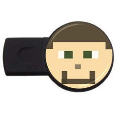 Custom Block Head 2gb Usb Flash Drive (round)