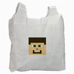 Custom Block Head White Reusable Bag (one Side) by BlockCrafts