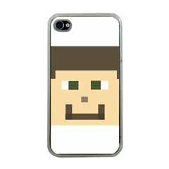 Custom Block Head Apple Iphone 4 Case (clear) by BlockCrafts
