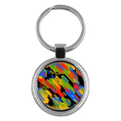 Colorful Shapes On A Black Background Key Chain (round) by LalyLauraFLM