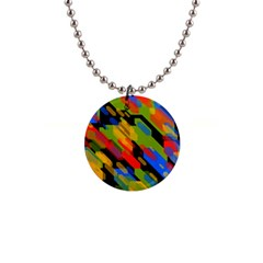 Colorful Shapes On A Black Background 1  Button Necklace