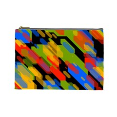 Colorful Shapes On A Black Background Cosmetic Bag (large) by LalyLauraFLM