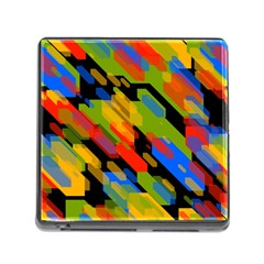 Colorful Shapes On A Black Background Memory Card Reader With Storage (square) by LalyLauraFLM