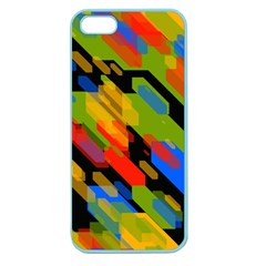 Colorful Shapes On A Black Background Apple Seamless Iphone 5 Case (color) by LalyLauraFLM